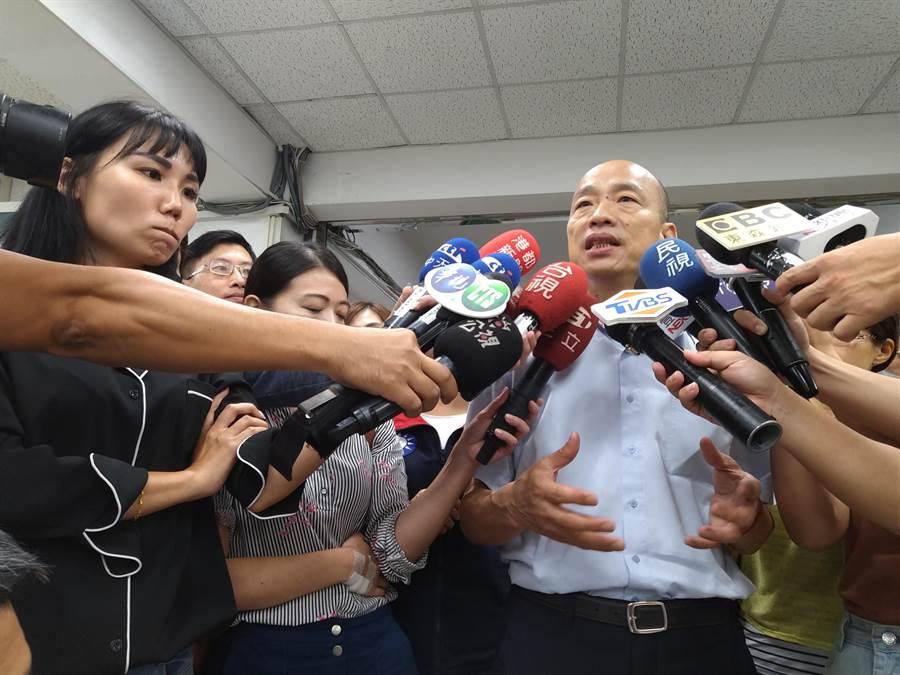 針對公懲會判定台大校長管中閔被控涉違法兼職案判決申誡,韓國瑜說,大部分台灣民眾也無法接受這樣的羞辱。(林雅惠攝)
