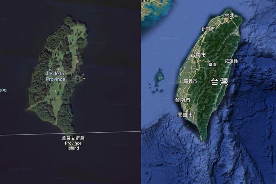 像爆!美加邊界驚見「平行台灣」(圖/摘自Google Map)