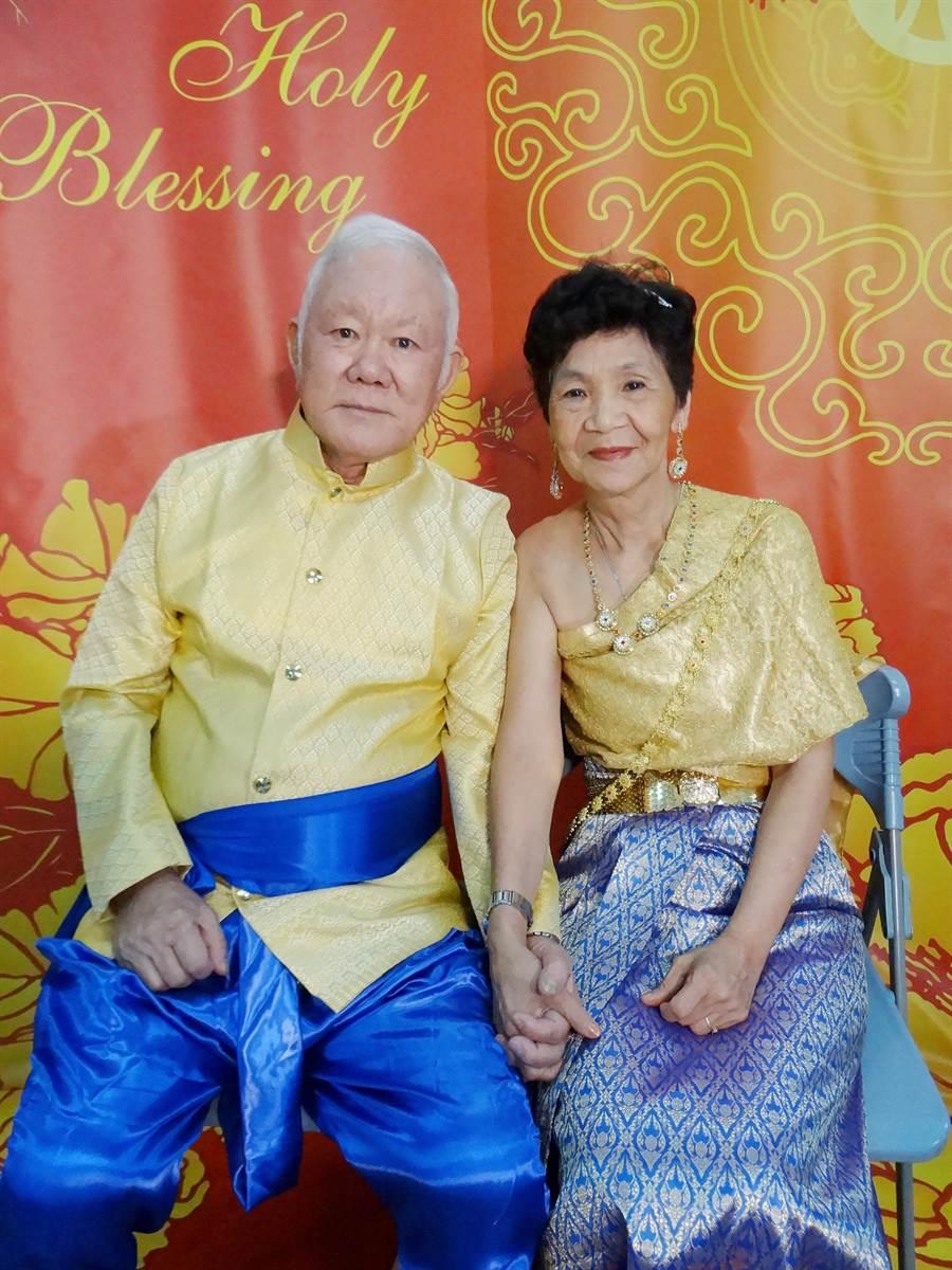 陸軍上校退伍的楊暨東與妻子馬榮光,7日當天將穿上泰國服飾走紅毯。(鄭晴而提供)