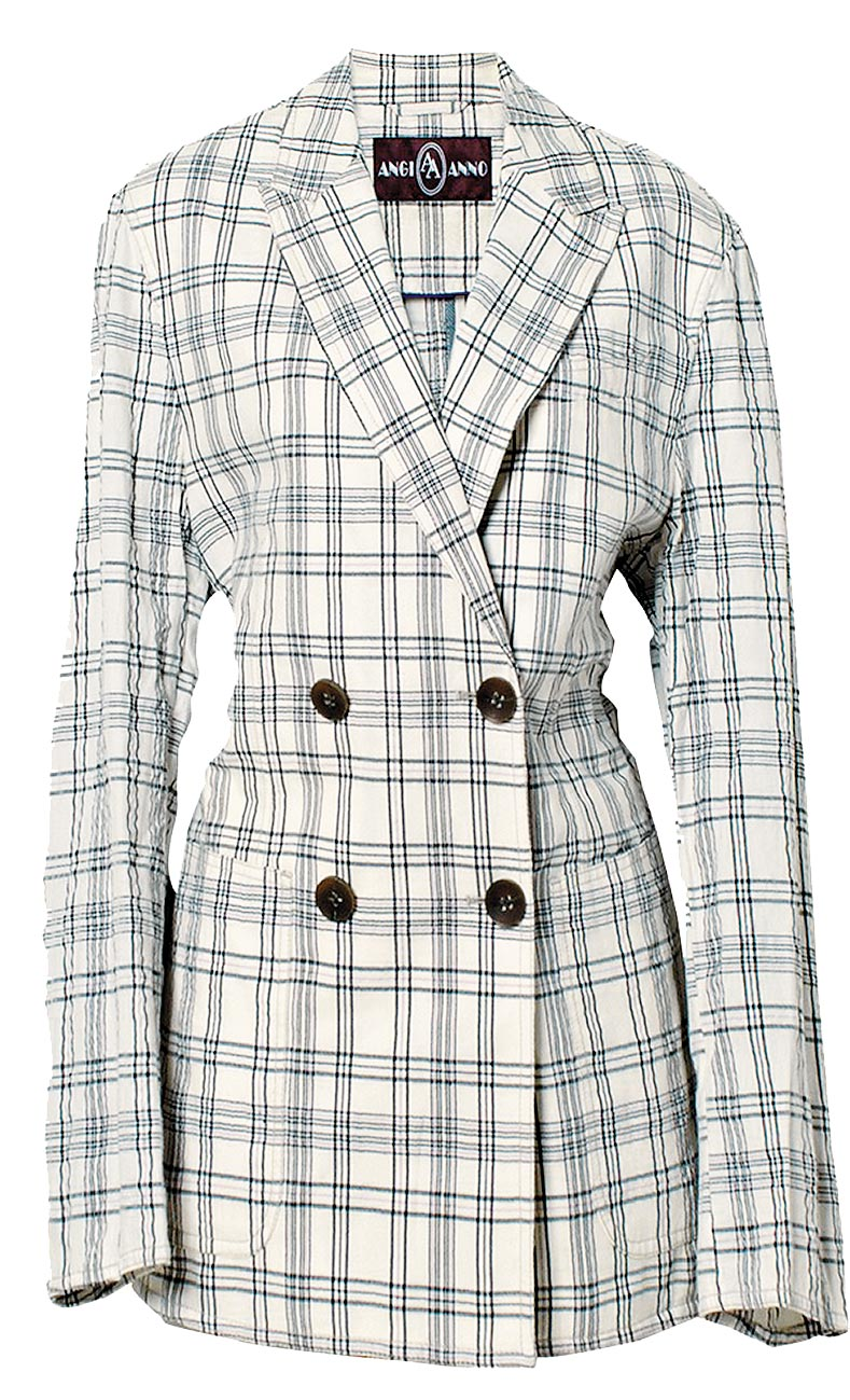 京華城的ANGIANNO針織格紋西裝外套,原價5980元,特價1000元。(京華城提供)