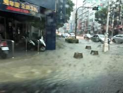 高雄水淹到這!網驚:怎麼過馬路