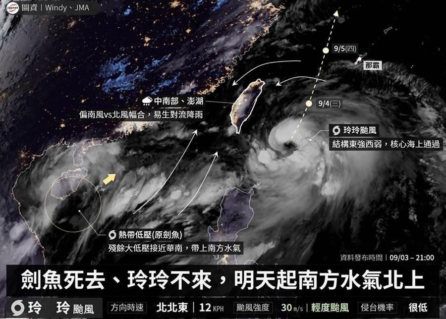 位在海南島上空的颱風「劍魚」,3日晚間慘被日本氣象廳宣判死刑,減弱微熱低壓,僅當18個小時的颱風 (圖/翻攝自台灣颱風論壇)