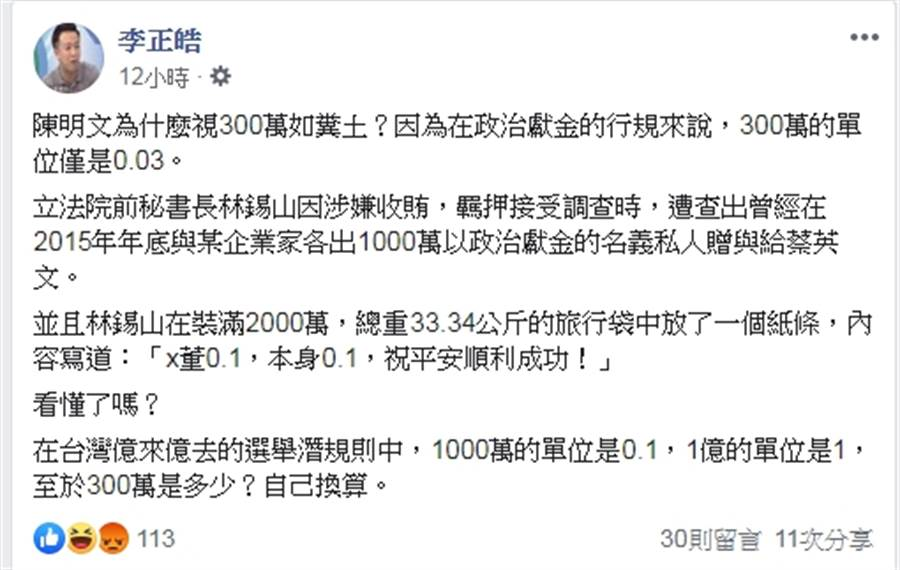 李正皓說,陳明文為什麼視300萬如糞土?因為在政治獻金的行規來說,300萬的單位僅是0.03。(李正皓FB)