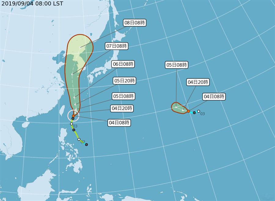 受到颱風外圍環流影響,今天北部、東北部及南部地區降雨機率偏高,容易有陣雨或雷雨。(翻攝自中央氣象局/林良齊台北傳真)