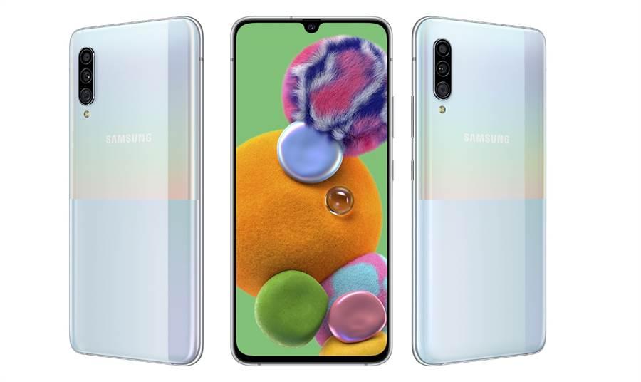 Galaxy A90 5G白色款式。(三星提供/黃慧雯台北傳真)