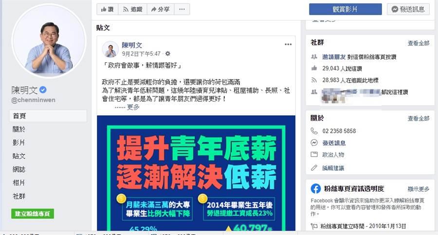 陳明文臉書貼文,仍停留在9月2號,未見對300萬皮箱事件有所回應。(圖/截自陳明文臉書)