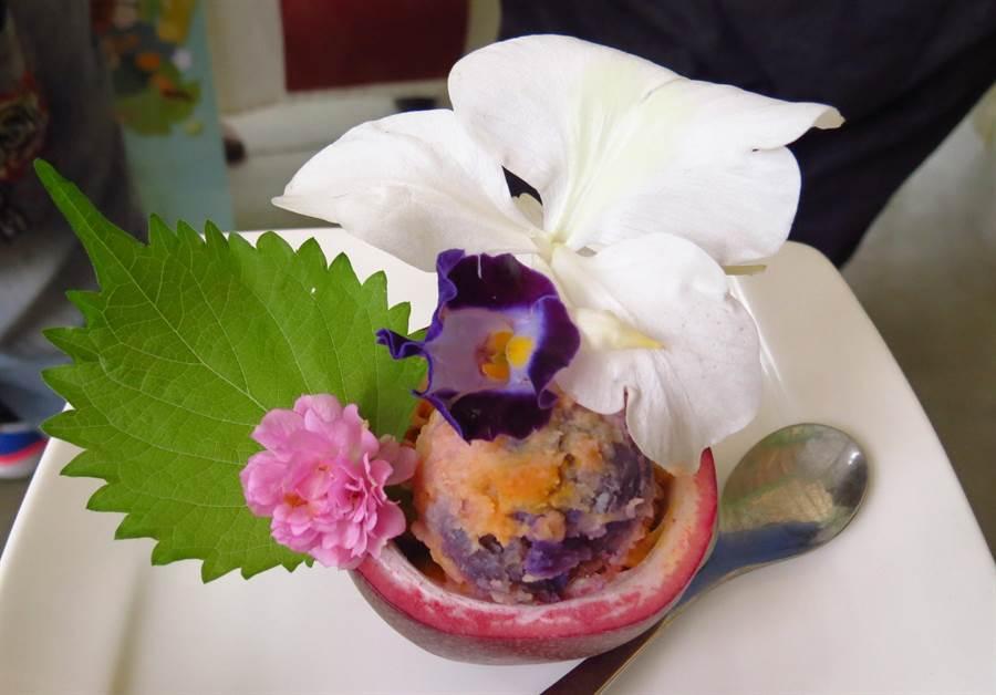 ▲以人蝶可共食的蜜源及食草,研發出特色的蝴蝶餐飲,創造出埔里特色新料理。(楊樹煌攝)