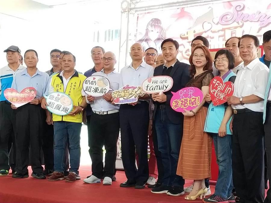 高雄巿長韓國瑜4日出席新興區公所舉辦「2019幸福久久、最愛幸福在新興」活動。(曹明正攝)