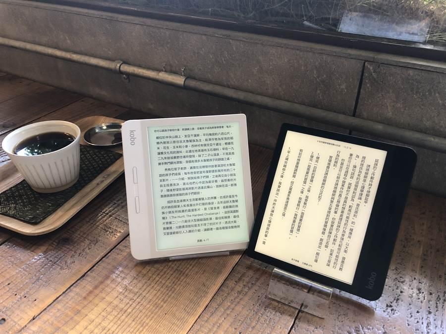 樂天最新Kobo Libra閱讀器推出黑、白兩種款式,期待給亞洲讀者更多選擇。(樂天Kobo提供/黃慧雯台北傳真)