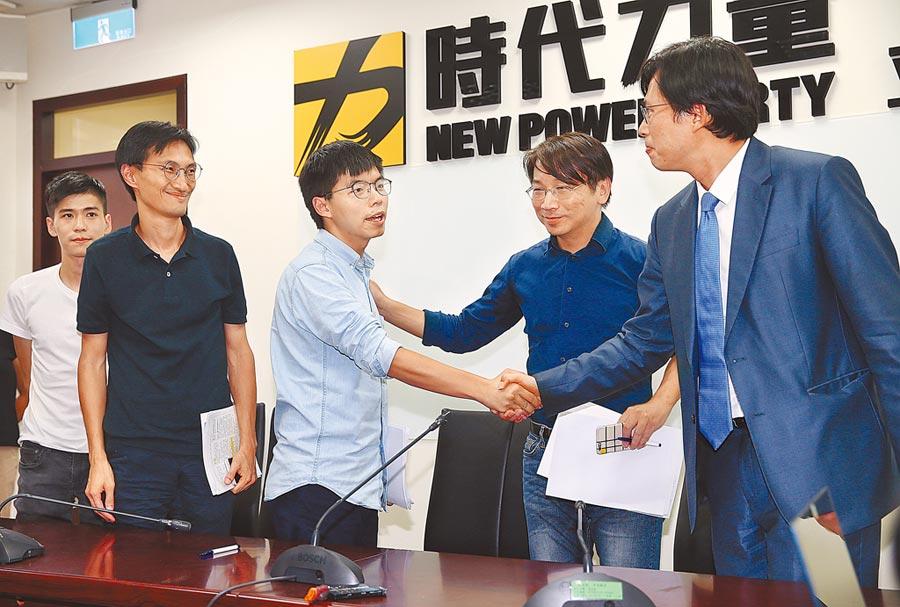 香港眾志祕書長黃之鋒等人3日拜會時代力量。(本報系記者姚志平攝)