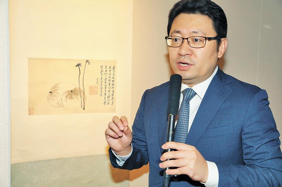 香港蘇富比2019秋季拍賣傳媒預覽在香港舉行。圖為本季重點拍品明末清初著名書畫家八大山人的《蕨瓜圖》。(中新社)