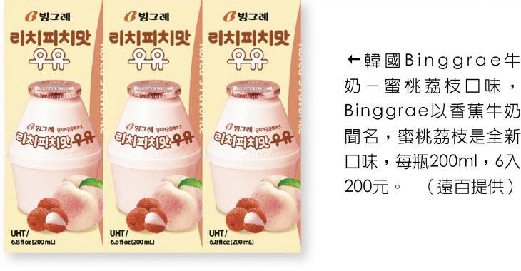 韓國Binggrae牛奶-蜜桃荔枝口味,Binggrae以香蕉牛奶聞名,蜜桃荔枝是全新口味,每瓶200ml,6入200元。(遠百提供)