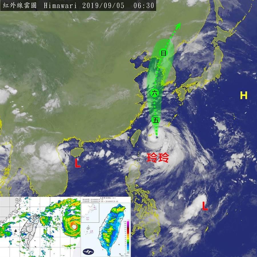 台灣颱風論壇表示,玲玲颱風外圍環流影響,各地皆易有降雨出現。(圖/台灣颱風論壇)