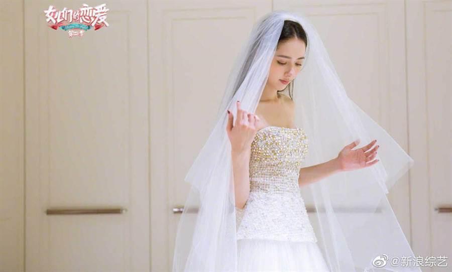 郭碧婷先為節目披婚紗。取自微博