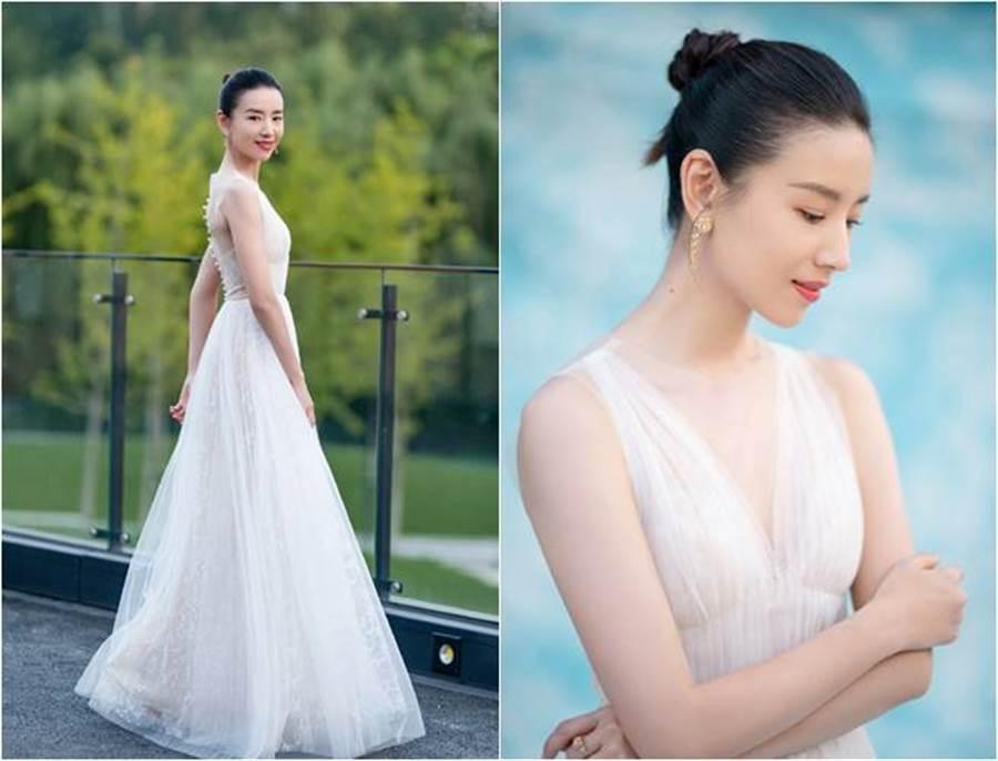 穿白紗禮服的董潔美得超像仙女。(圖/取材自董潔工作室微博)