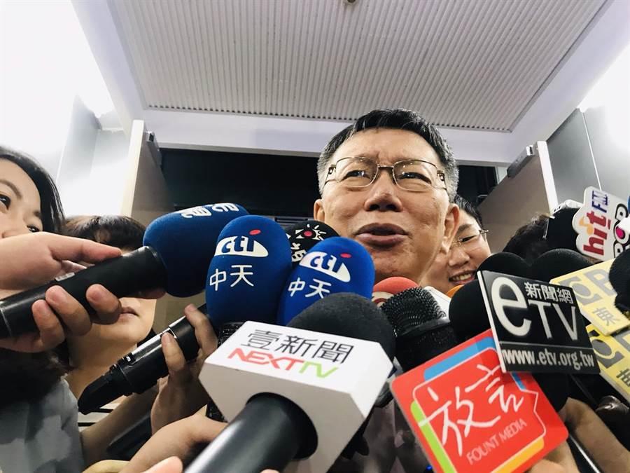 台北市長柯文哲稱忘記誰跟他講名模林志玲懷孕了。(張穎齊攝)
