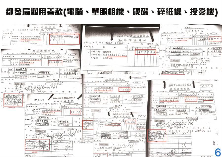 韓陣營公布高雄氣爆善款疑被菊巿府濫用的證據。(韓國瑜競選辦公室提供/曹明正高雄傳真)