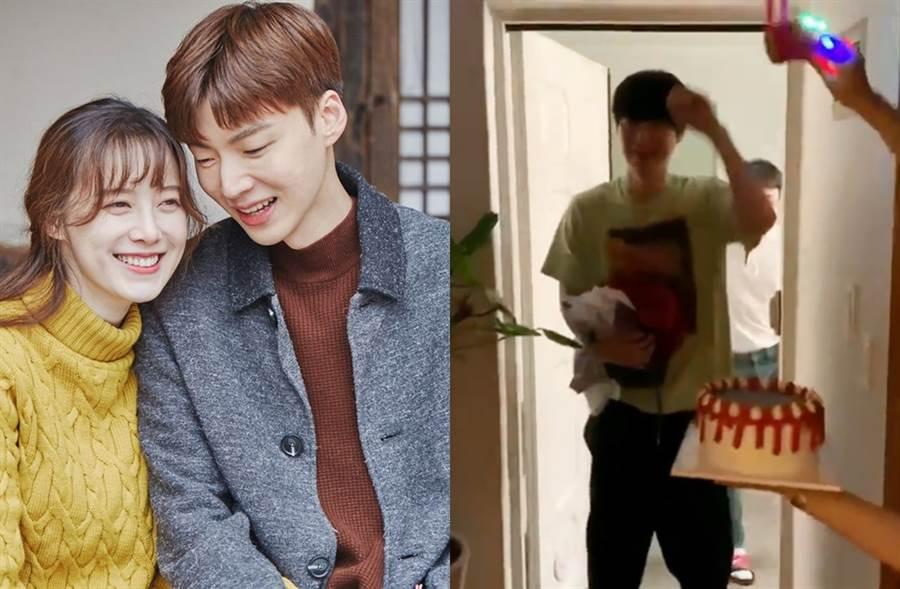 安宰賢生日當天上傳跟工作人員慶生影片(右圖),惹具惠善大發飆。(圖/翻攝自tvN 신혼일기臉書、翻攝自aagbanjh IG)