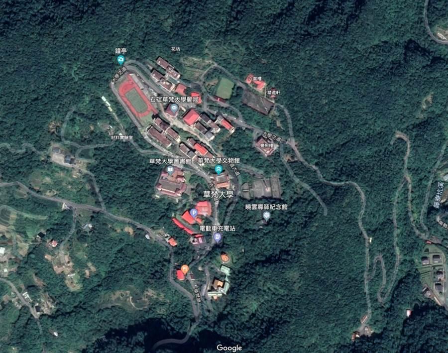 華梵大學衛星圖。(摘自Google地圖)