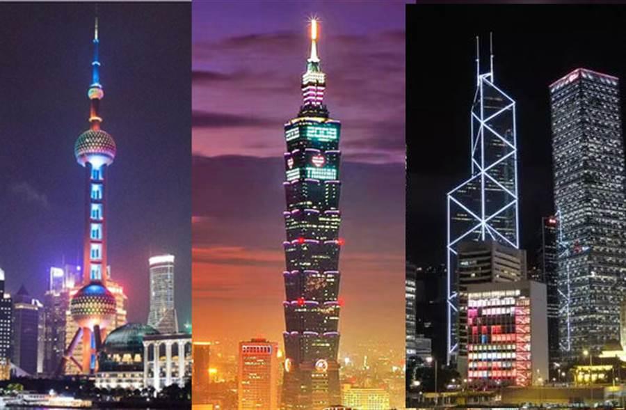 鄧小平發明一國兩制,讓大陸、台灣與香港一起追求和平繁榮。圖左為上海黃浦江東方明珠、圖中為台北101大樓、圖右為香港中銀大樓。(資料照片合成)