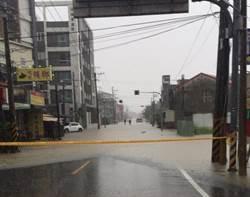 台南新化強降雨 部分道路積水封路