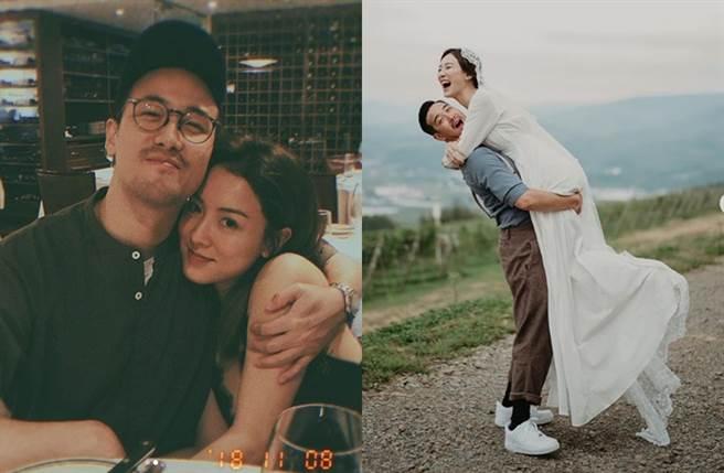 曾國祥、王敏奕稍早曬婚紗照認結婚。(圖/翻攝自wongmanyik、lajah IG)