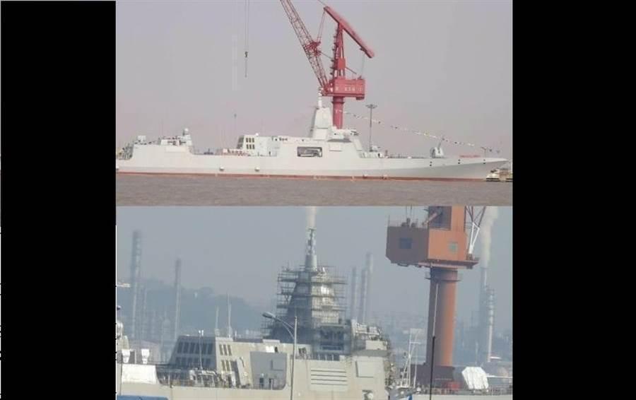 網上流傳舾裝中的055大型驅逐艦圖片。(圖/新浪微博@海邊漫步、@王牌武器庫)