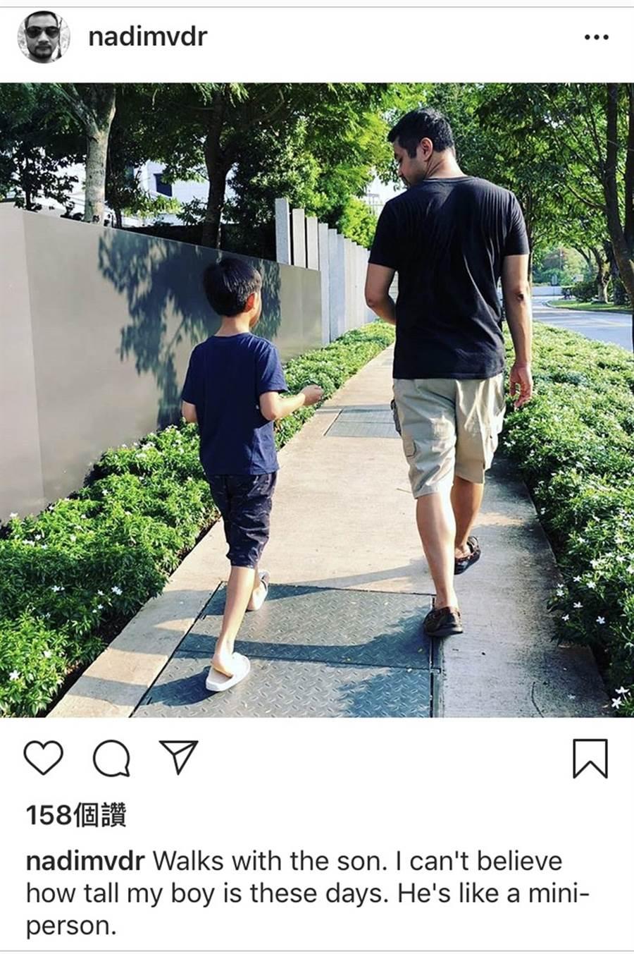 納迪姆分享和兒子合照。(圖/翻攝自 IG)