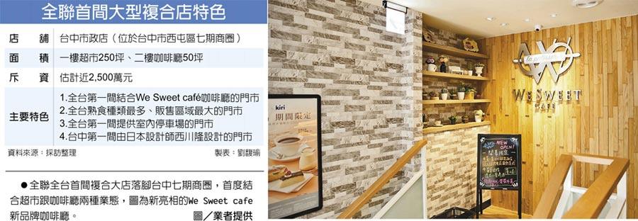 全聯首間大型複合店特色 全聯全台首間複合大店落腳台中七期商圈,首度結合超市跟咖啡廳兩種業態,圖為新亮相的We Sweet cafe新品牌咖啡廳。圖/業者提供