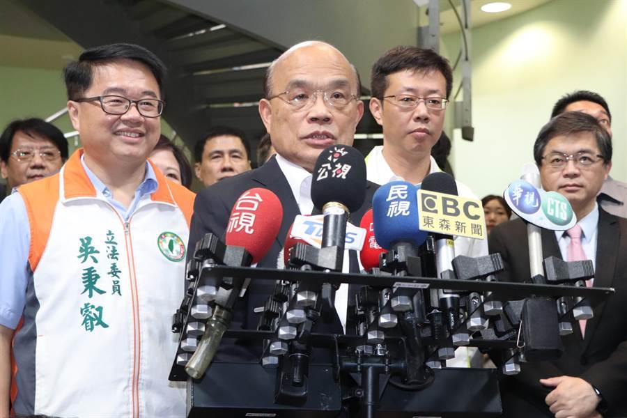行政院長蘇貞昌今(8日)上午出席「輔導機車行升級轉型說明會」。(吳亮賢攝)