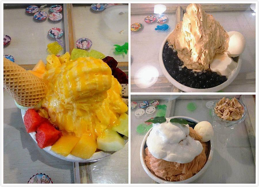 剛好冰果室特色冰品:水果冰(左)、泰式奶茶冰(右上)、珍珠奶茶冰(右下)。