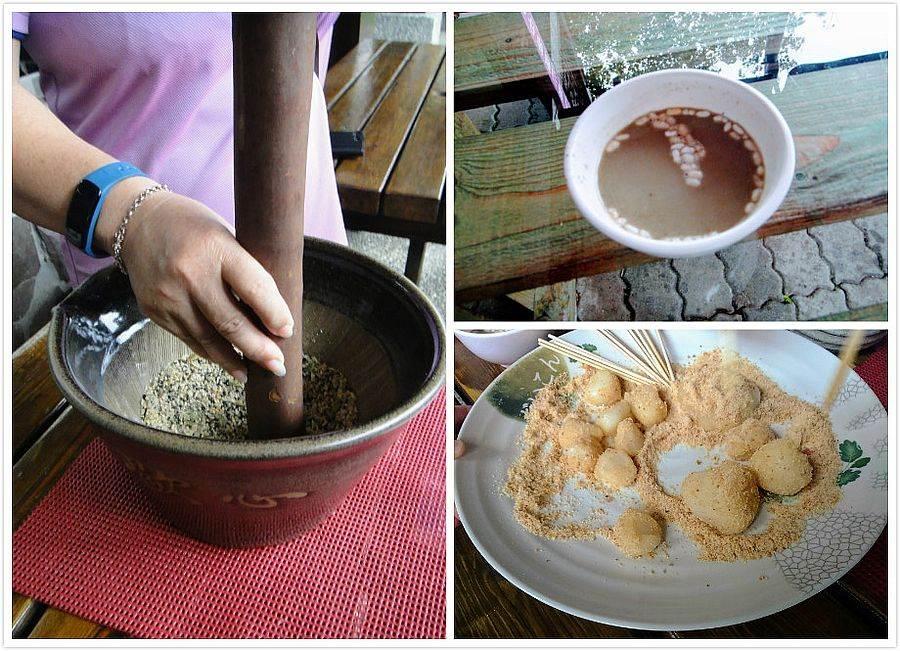 跟著客家媽媽擂茶趣,還能品嘗美味麻薯。