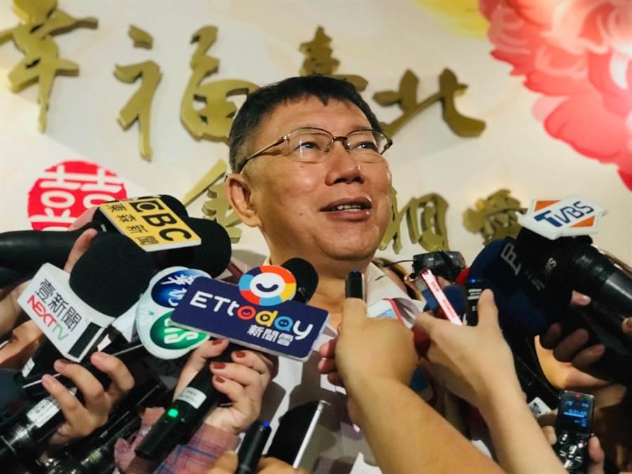 台北市長柯文哲8日在晶華酒店接受聯訪。(張穎齊攝)