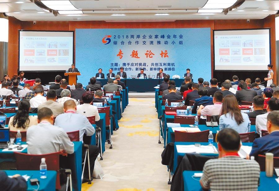 2018年12月4日,兩岸企業家峰會年會綜合合作交流推動小組專題論壇在廈門舉行。(中新社)