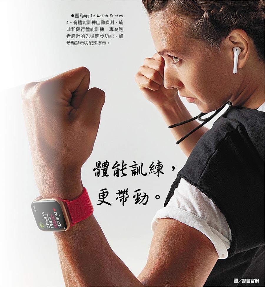 圖為Apple Watch Series 4。有體能訓練自動偵測、瑜伽和健行體能訓練、專為跑者設計的先進跑步功能,如步頻顯示與配速提示。