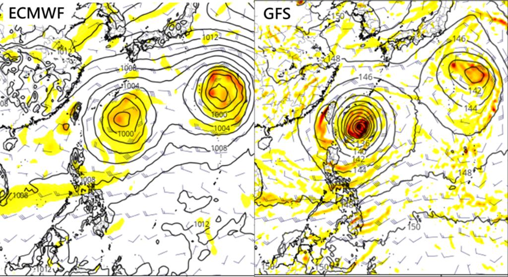 歐洲模式(ECMWF)及美國模式(GFS),模擬周日的天氣圖,有兩個熱帶系統在台灣東方海面上。彭啟明說,有可能兩個都成颱,並相互影響。(圖擷自tropical tidbits)