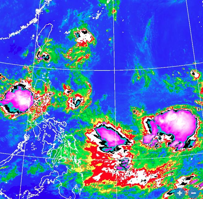圖為菲律賓東方海面的低壓,預估今明兩天增強為熱帶性低氣壓。(氣象局 衛星雲圖)