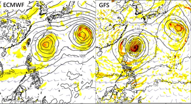 歐洲模式(ECMWF)及美國模式(GFS),模擬週日的天氣圖顯示,熱帶擾動在台灣東方海面上,其位置、強度不盡相同,離台灣皆尚有一段距離。(圖擷自tropical tidbits)