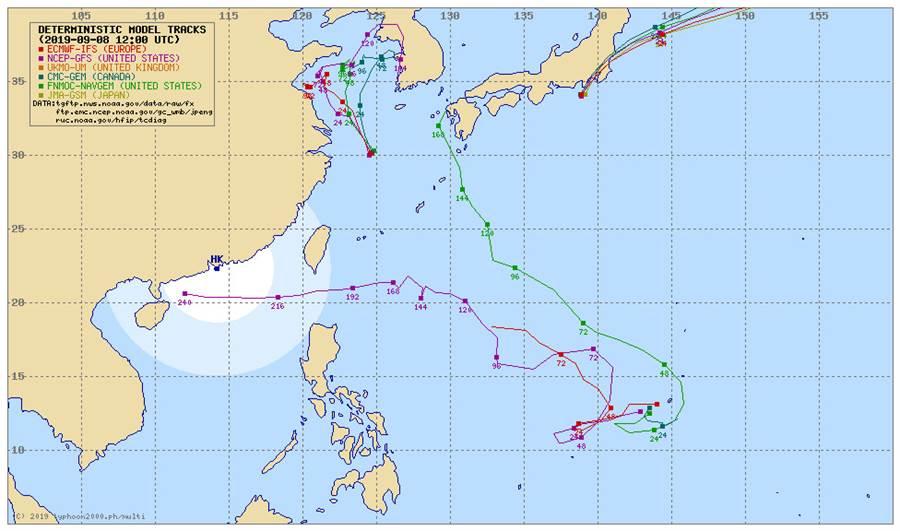 各國模擬路徑顯示,熱帶系統影響台灣的機率低。(翻攝TYPHOON2000)