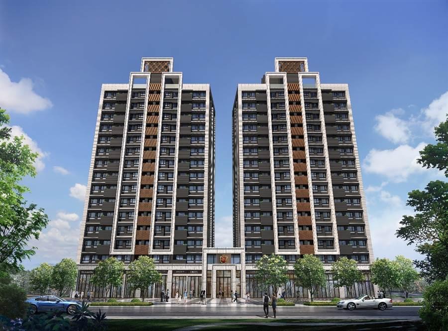 新潤興業 鉑麗規劃地上15層,20~36坪 2-4房的產品,建築規劃融入「氧生宅」全新概念。(電腦模擬街廓示意圖/業者提供)