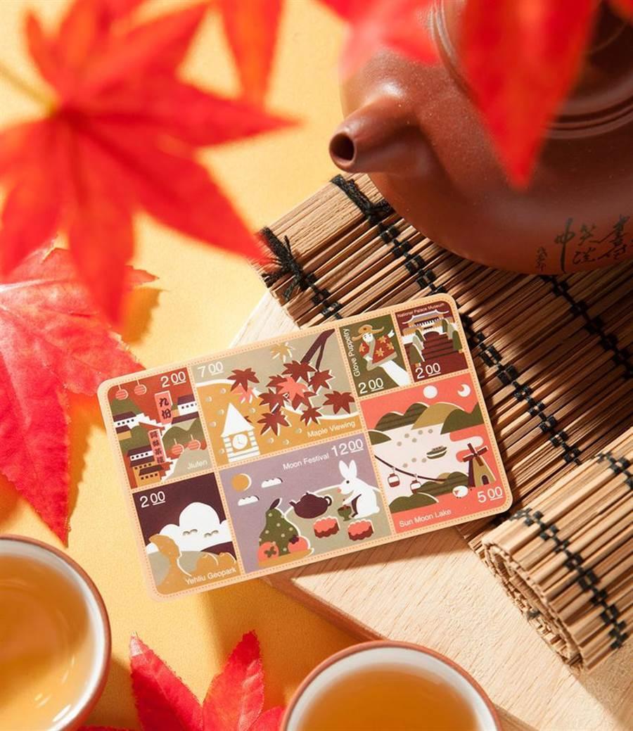 (悠遊卡公司發行「台灣風情悠遊卡-秋季」,呈現「玉兔搗藥」的民俗節慶故事,紙卡設計還能當作明信片使用。圖/悠遊卡公司提供)