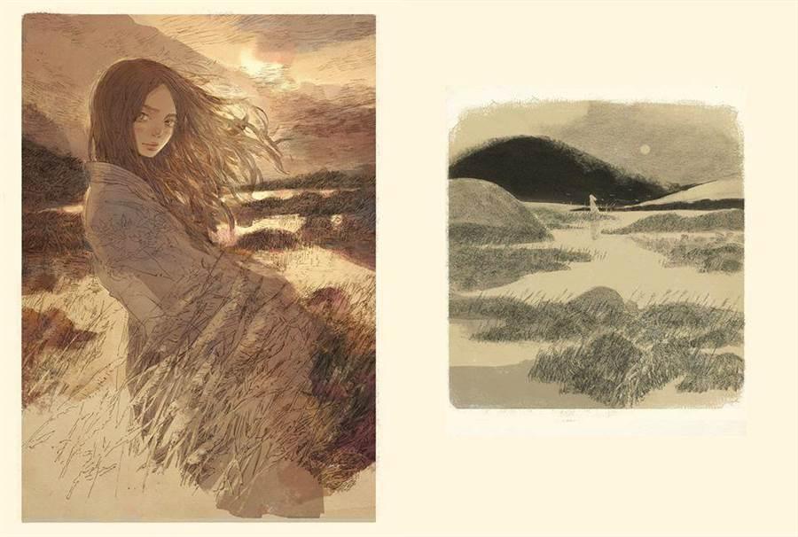 漫畫家葉長青藉由畫作,讓詩經裡的神秘伊人現身於紙上。(葉長青提供/王寶兒台北傳真)