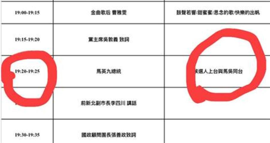 徐巧芯在臉書貼出8日韓國瑜造勢程序單,並指出馬英九原訂就是晚間19:20上台致詞。但網友發現,表定馬致詞時間也只有5分鐘。(圖/取自徐巧芯臉書)