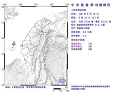 宜蘭發生最大震度5級地震 規模3.0 深度僅6公里