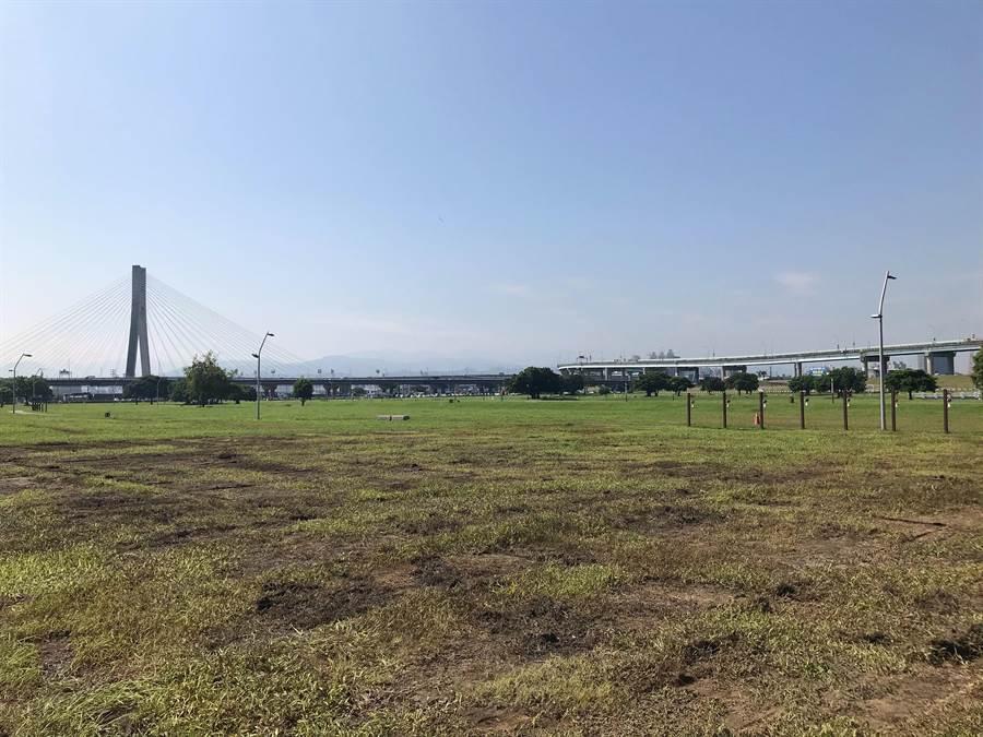 主舞台地區因廠商事前使用鐵板保護,草雖被壓平依舊是活草地,日後會逐漸回復。(戴上容攝)