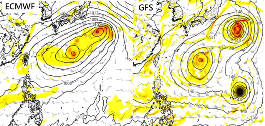 最新歐洲模式(ECMWF)及美國模式(GFS),模擬週日天氣圖,顯示有多個熱帶擾動存在,可能發展成熱低壓,颱風。(圖擷自tropical tidbits)