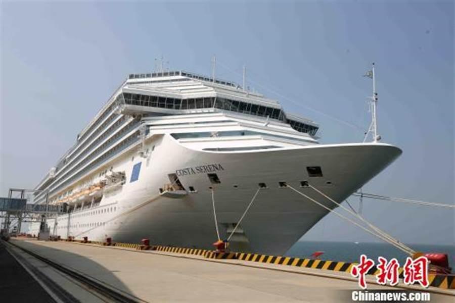 歌詩達郵輪「賽琳娜號」今天在青島母港全新啟航。(照片取自中新網)