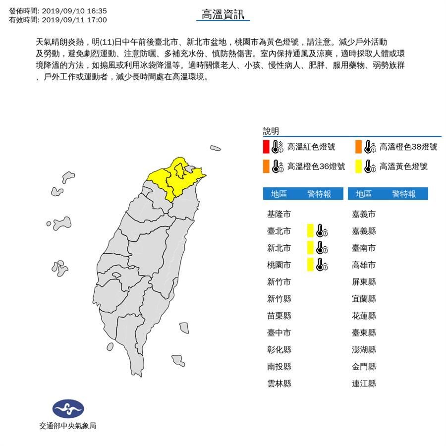 周三中午前後臺北市、新北市盆地,桃園市36度左右高溫。(圖/氣象局)