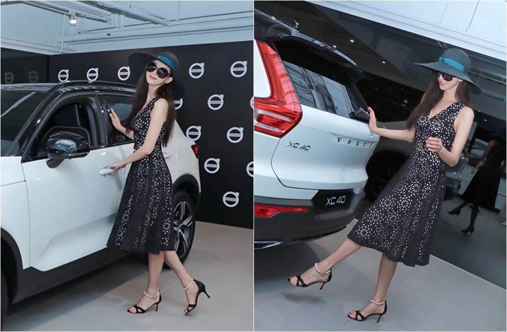 林志玲四肢纖細、肚子平坦,腳還踩著高跟鞋。(圖/取材自Volvo Cars Taiwan臉書)