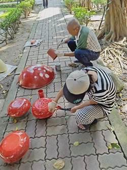 三多公園微整形 鍋蓋、輪胎打造小小兵卡通樂園